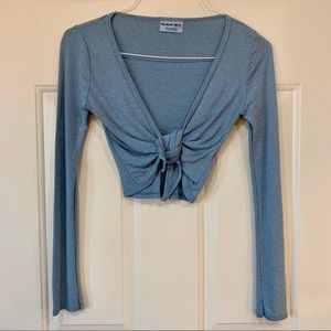 Michael Stars Blue Shimmer Tie Long sleeve top OS